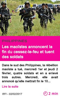 Societe philippines les maoistes annoncent la fin du cessez le feu et tuent des soldats