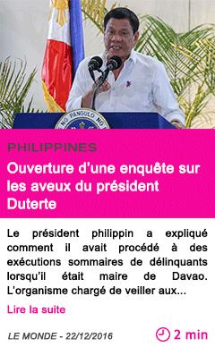 Societe philippines ouverture d une enquete sur les aveux du president duterte
