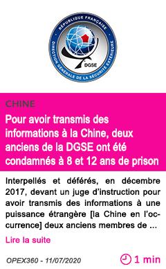 Societe pour avoir transmis des informations a la chine deux anciens de la dgse ont ete condamnes a 8 et 12 ans de prison