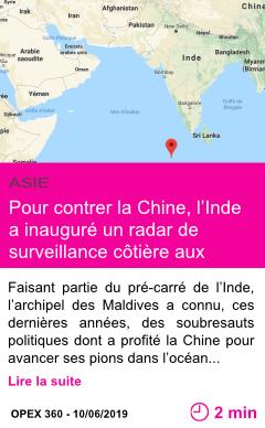 Societe pour contrer la chine l inde a inaugure un radar de surveillance cotiere aux maldives page001