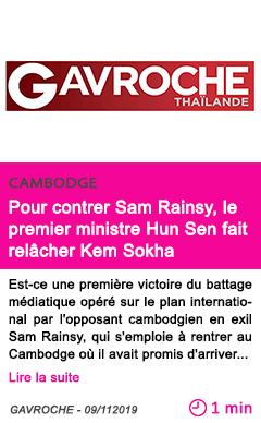 Societe pour contrer sam rainsy le premier ministre hun sen fait relacher kem sokha