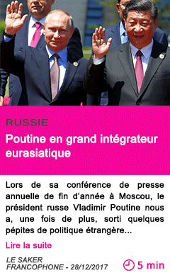 Societe poutine en grand integrateur eurasiatique