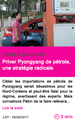 Societe priver pyongyang de petrole une strategie radicale