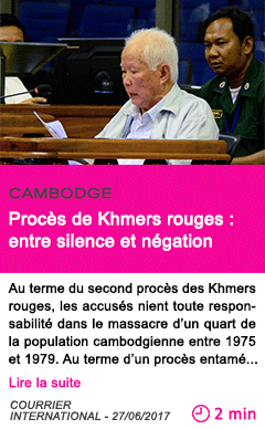 Societe proces de khmers rouges entre silence et negation