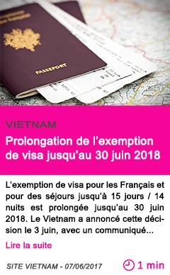 Societe prolongation de l exemption de visa jusqu au 30 juin 2018