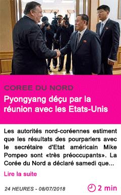 Societe pyongyang decu par la reunion avec les etats unis