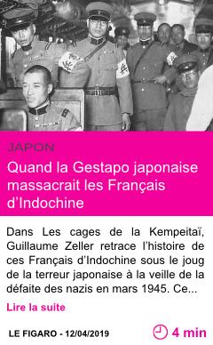 Societe quand la gestapo japonaise massacrait les francais d indochine page001