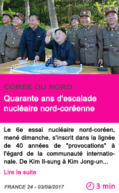 Societe quarante ans d escalade nucleaire nord coreenne