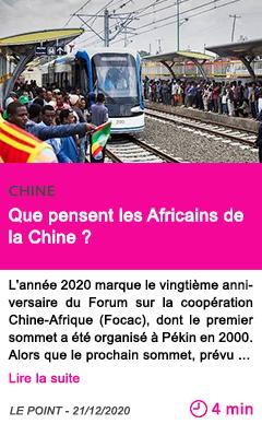 Societe que pensent les africains de la chine
