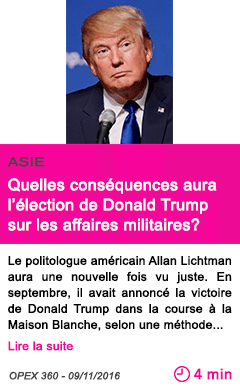 Societe quelles consequences aura l election de donald trump sur les affaires militaires