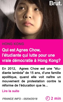 Societe qui est agnes chow l etudiante qui lutte pour une vraie democratie a hong kong
