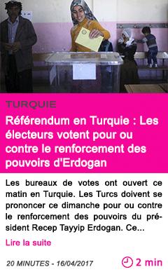 Societe referendum en turquie les electeurs votent pour ou contre le renforcement des pouvoirs d erdogan