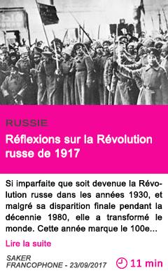 Societe reflexions sur la revolution russe de 1917