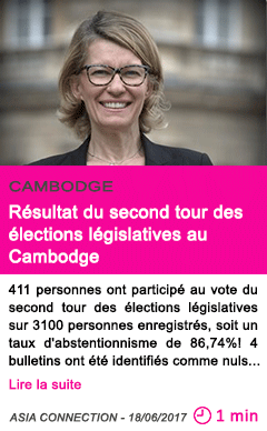 Societe resultat du second tour des elections legislatives au cambodge