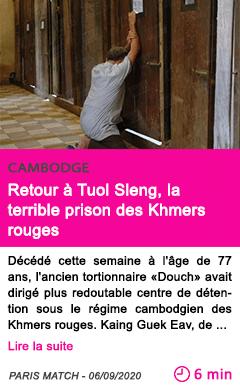 Societe retour a tuol sleng la terrible prison des khmers rouges
