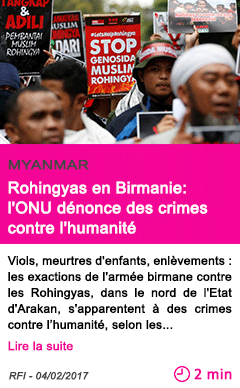 Societe rohingyas en birmanie l onu denonce des crimes contre l humanite