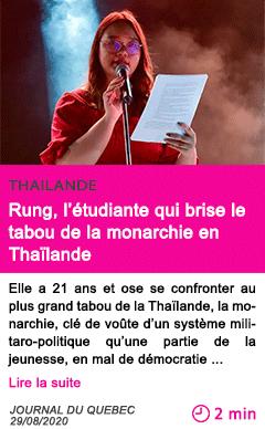 Societe rung l etudiante qui brise le tabou de la monarchie en thailande