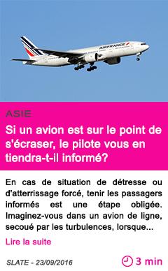 Societe si un avion est sur le point de s ecraser le pilote vous en tiendra t il informe
