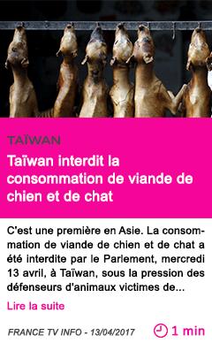 Societe taiwan interdit la consommation de viande de chien et de chat