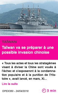 Societe taiwan va se preparer a une possible invasion chinoise