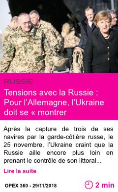 Societe tensions avec la russie pour l allemagne l ukraine doit se montrer raisonnable page001