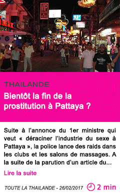 Societe thailande bientot la fin de la prostitution a pattaya