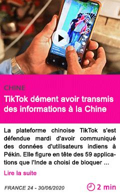 Societe tiktok dement avoir transmis des informations a la chine