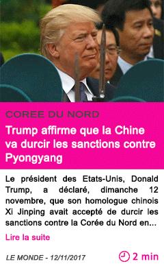 Societe trump affirme que la chine va durcir les sanctions contre pyongyang