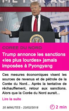 Societe trump annonce les sanctions les plus lourdes jamais imposees a pyongyang