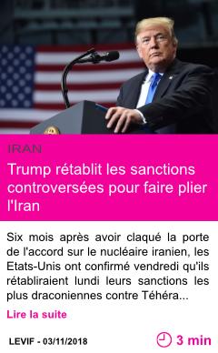 Societe trump retablit les sanctions controversees pour faire plier l iran page001