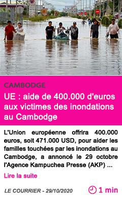 Societe ue aide de 400 000 d euros aux victimes des inondations au cambodge