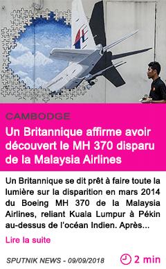 Societe un britannique affirme avoir decouvert le mh 370 disparu de la malaysia airlines