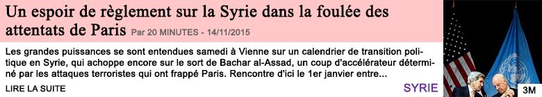 Societe un espoir de reglement sur la syrie dans la foulee des attentats de paris