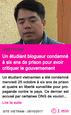 Societe un etudiant blogueur condamne a six ans de prison pour avoir critiquer le gouvernement