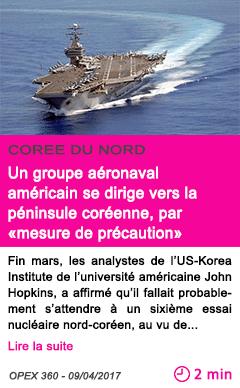 Societe un groupe aeronaval americain se dirige vers la peninsule coreenne par mesure de precaution