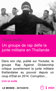 Societe un groupe de rap defie la junte militaire en thailande page001