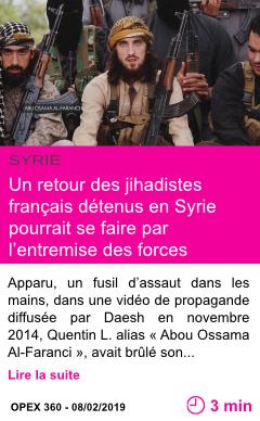 Societe un retour des jihadistes francais detenus en syrie pourrait se faire par l entremise des forces americaines page001