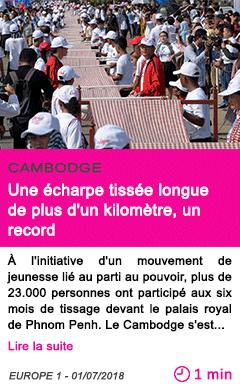 Societe une echarpe tissee longue de plus d un kilometre un record