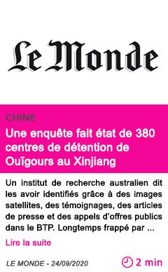 Societe une enque te fait e tat de 380 centres de de tention de oui gours au xinjiang