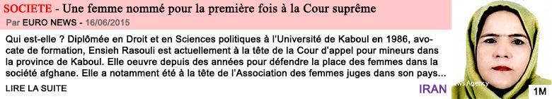 Societe une femme nomme pour la premiere fois a la cour supreme