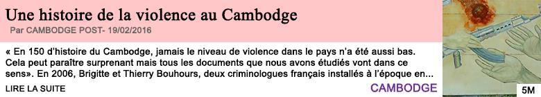 Societe une histoire de la violence au cambodge