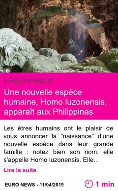 Societe une nouvelle espece humaine homo luzonensis apparait aux philippines page001
