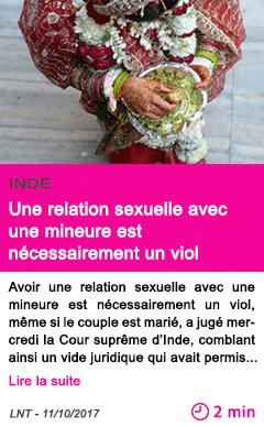 Societe une relation sexuelle avec une mineure est necessairement un viol
