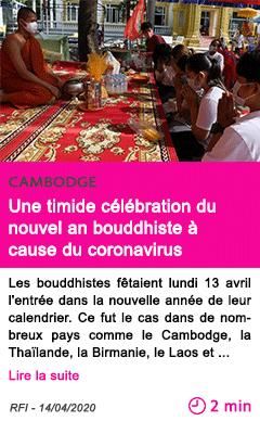 Societe une timide celebration du nouvel an bouddhiste a cause du coronavirus