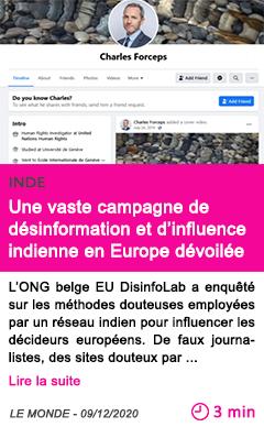 Societe une vaste campagne de de sinformation et d influence indienne en europe de voile e