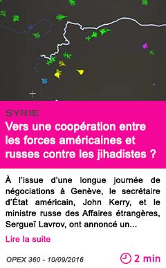 Societe vers une cooperation entre les forces americaines et russes contre les jihadistes