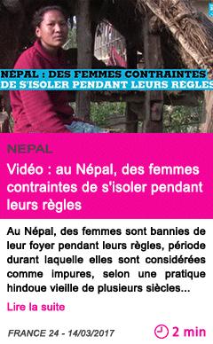 Societe video au nepal des femmes contraintes de s isoler pendant leurs regles