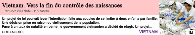 Societe vietnam vers la fin du controle des naissances