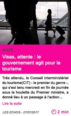 Societe visas attente le gouvernement agit pour le tourisme