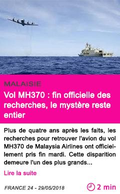 Societe vol mh370 fin officielle des recherches le mystere reste entier